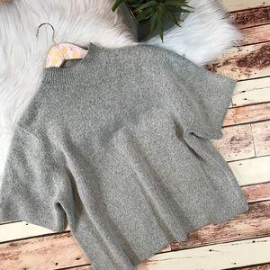 Loft gray boxy plush mock neck sweater